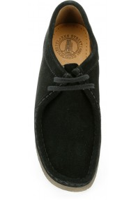 CLARKS WALLABEE BLACK SUED