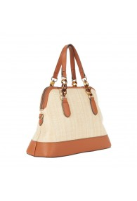 NANETTE LEPORE DINAH DOME SATCHEL NATU/TOFFEE